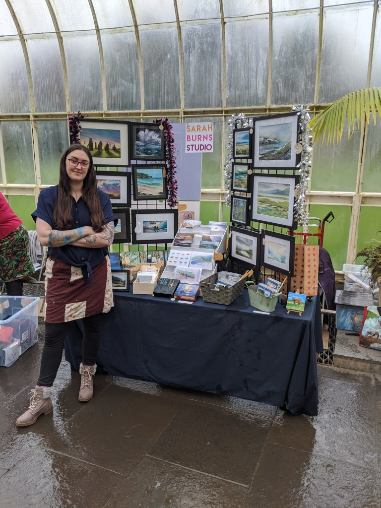 Selling my art at the Glasgow Botanic Gardens for the Teagreen Events Holiday Market