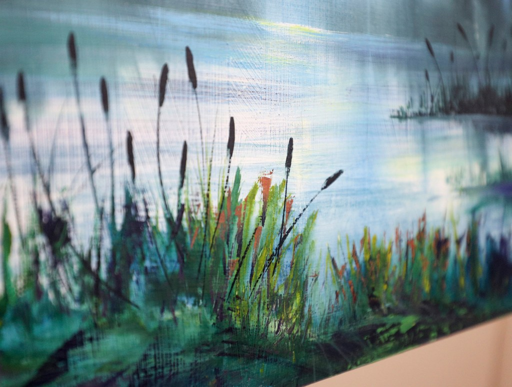 """Closeup of """"Cool Waters"""" details. Gouache on board."""