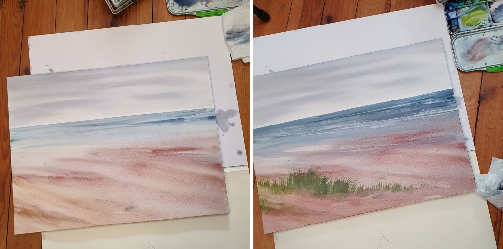 Sand dunes watercolor coastal art step by step