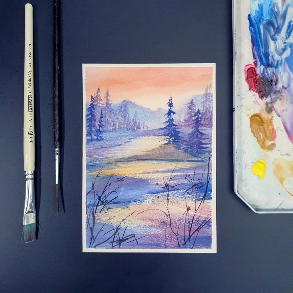 A snowy landscape at sunset (gouache painting)