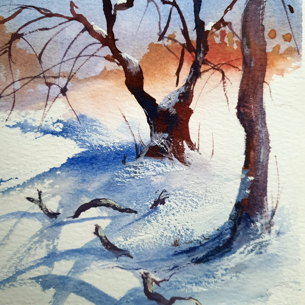 Closeup of gouache painting of broken branches in the snow.