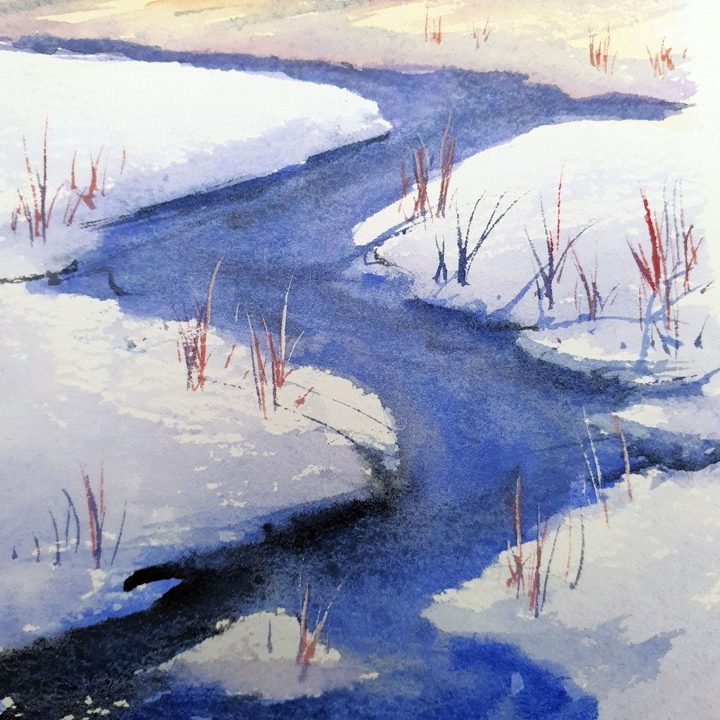 Closeup of snowy icy water gouache painting