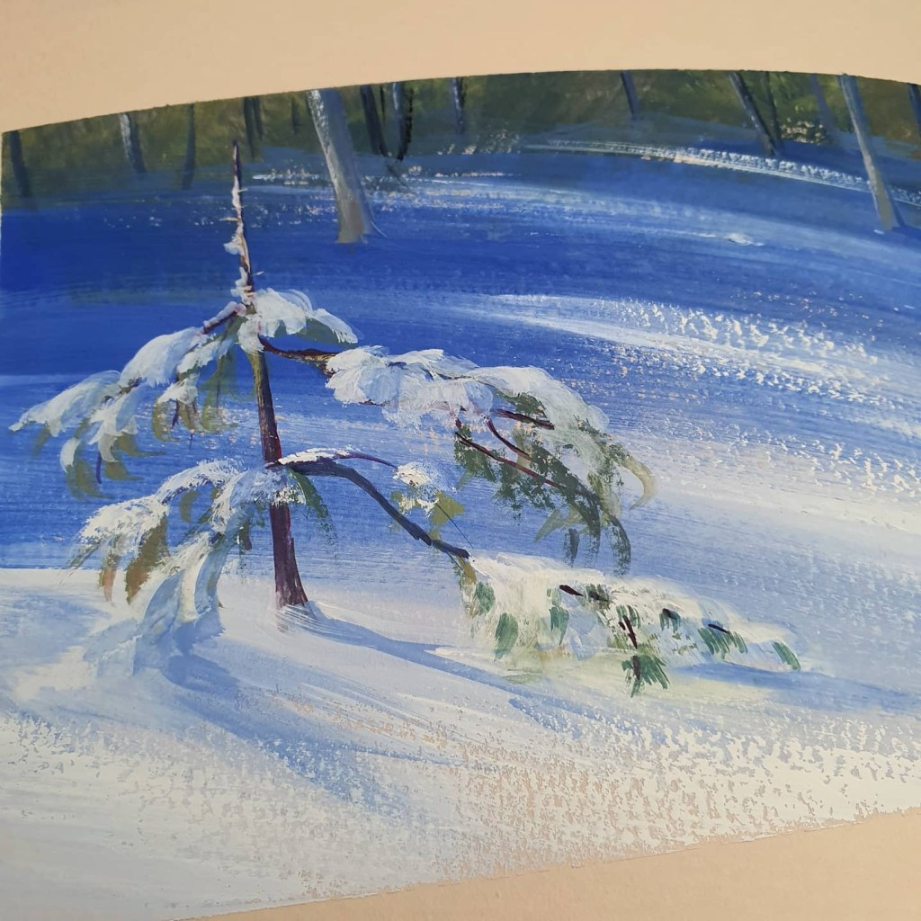 Gouache painting of a snowy tree