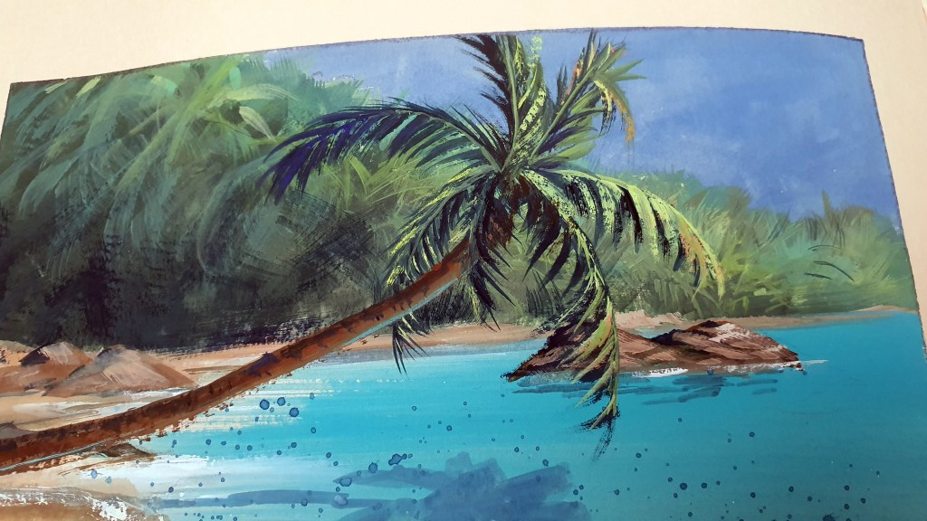 Gouache painting of a palm tree leaning over tropical water.