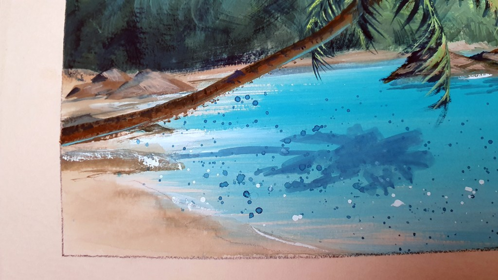 Closeup of Gouache painting of a palm tree leaning over tropical water.