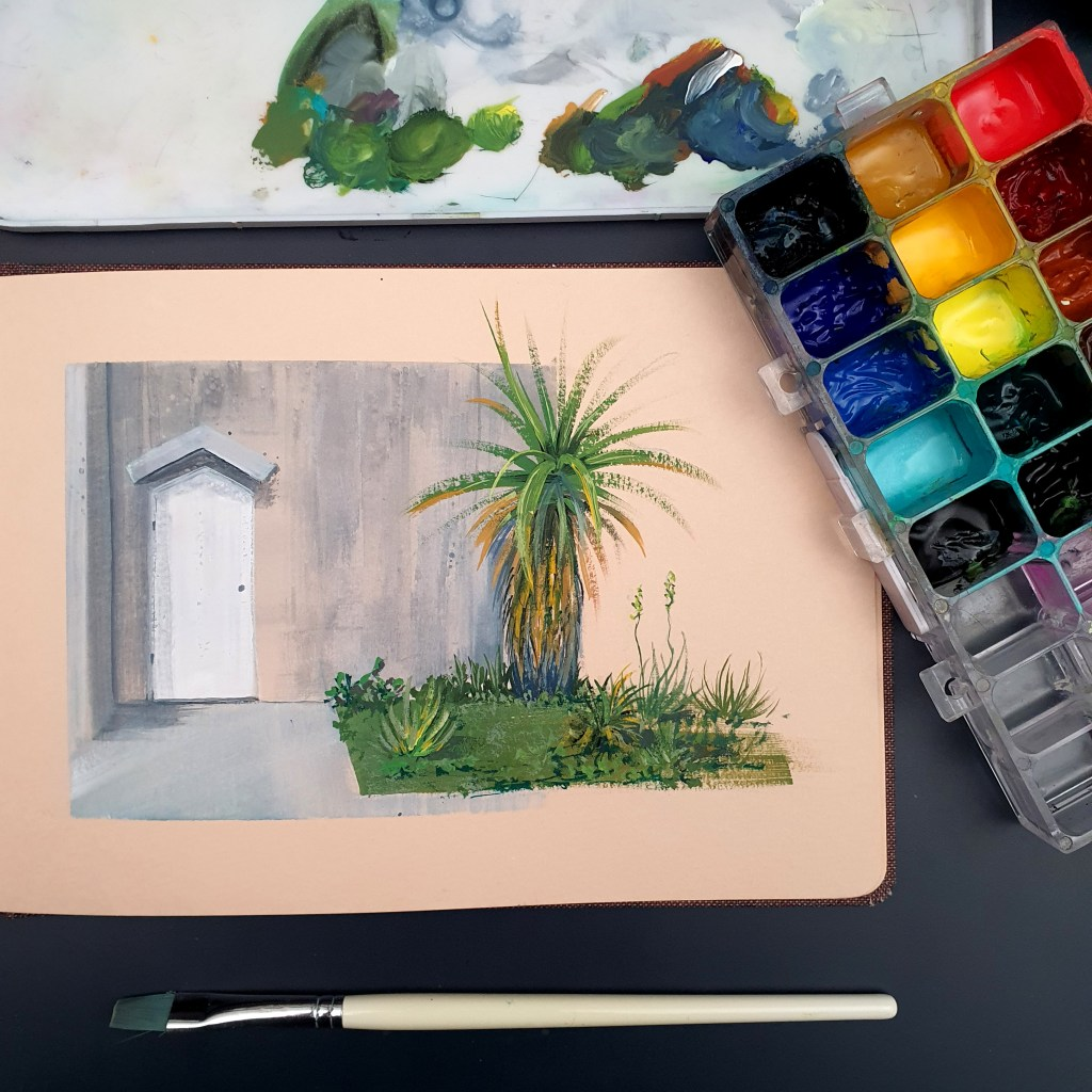 Door painting with gouache on toned paper