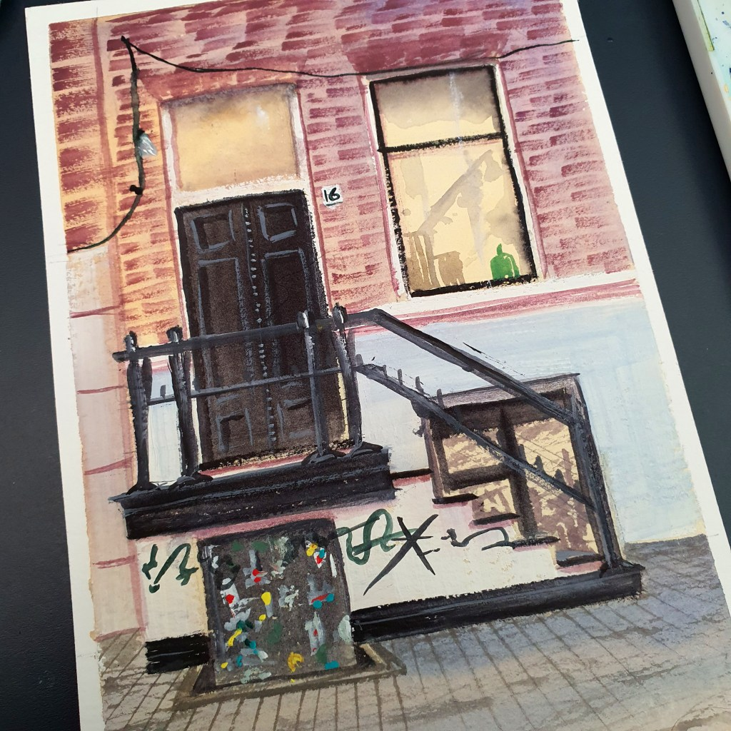 Closeup of a streetscape gouache painting with brick details