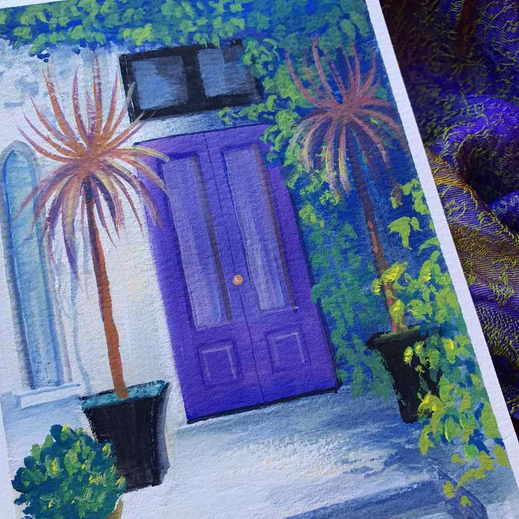 Closeup of purple door gouache painting