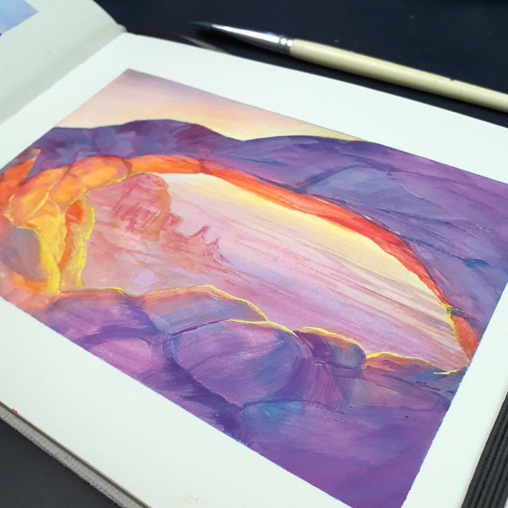 Closeup of glowing canyon gouache painting