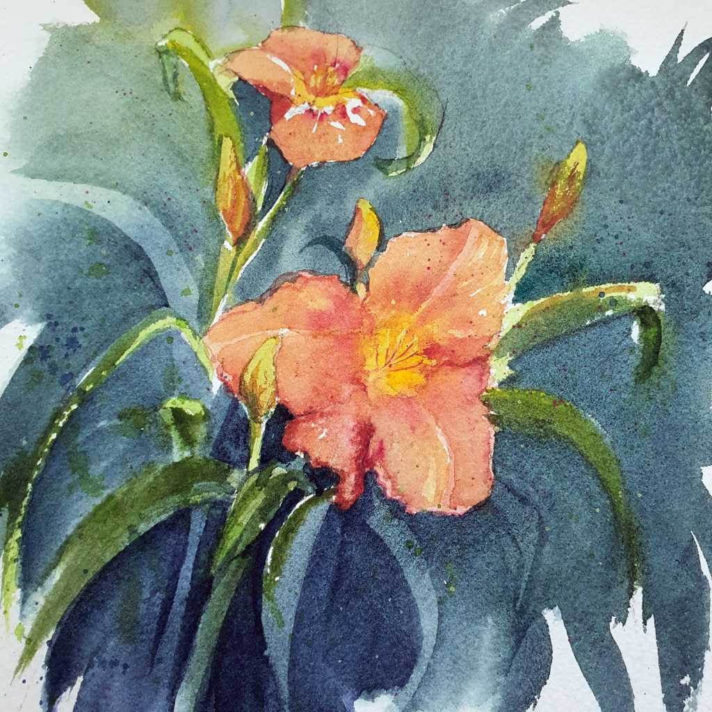 Closeup of a watercolor daylily painting