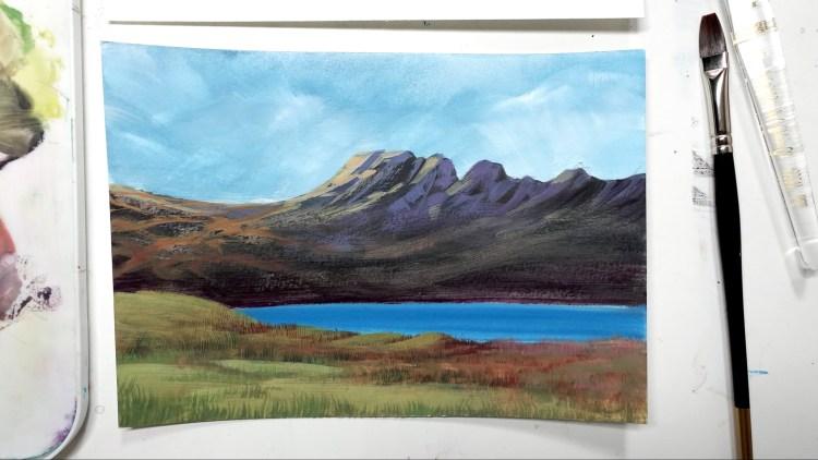 Gouache Mountain Painting