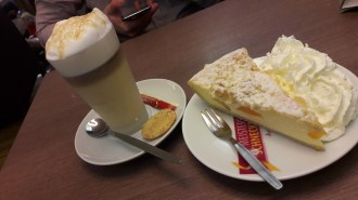 Little bakery in Tuttlingen, caffee latte and cheesecake