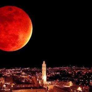 Jerusalem blood moon over city