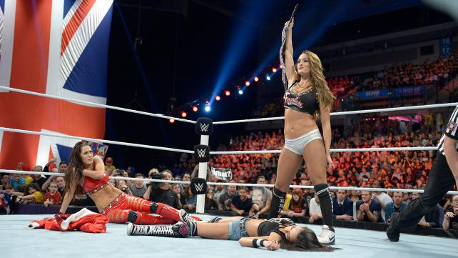 AJ Lee Nikki Bella Brie Bella Raw 11:10:14