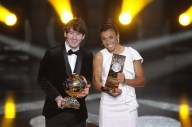 Argentina's Lionel Messi (L) winner of t