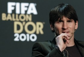 FIFA Men's Ballon d'Or of the Year 2010 nominee Messi of Argentina attends a press conference before the FIFA Ballon d'Or Gala in Zurich