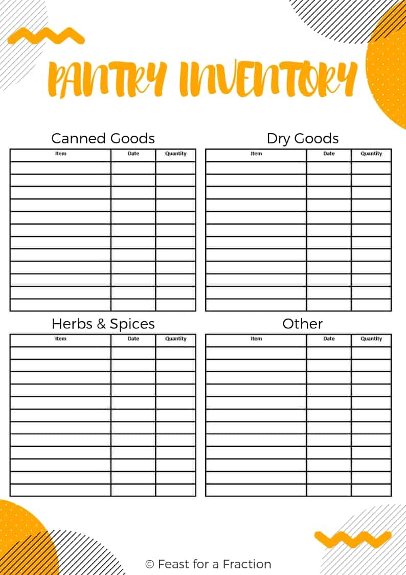 graphic about Pantry Inventory Printable identified as Totally free Pantry and Freezer Stock Printables - Feast for a