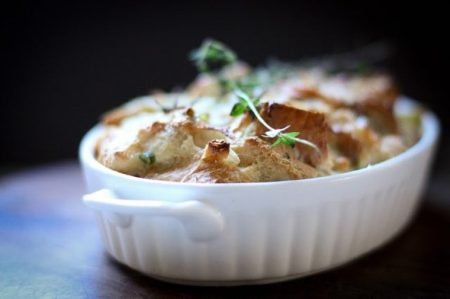 Savory Leek Bread pudding