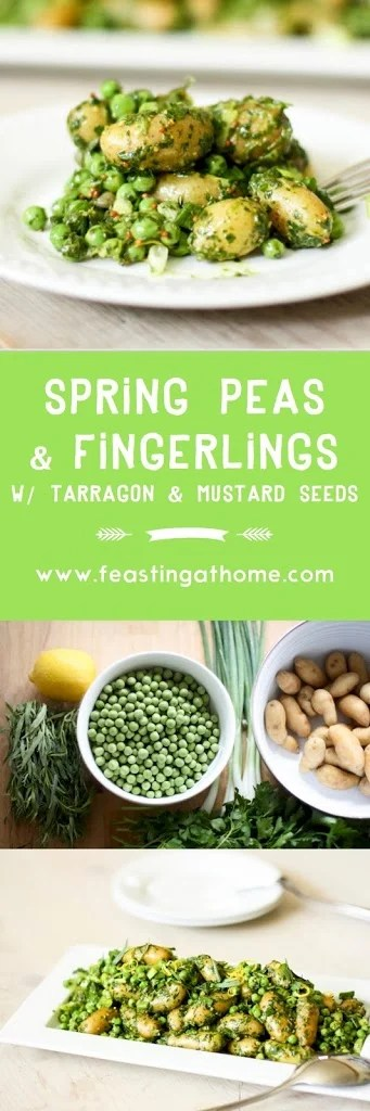 Fingerling potatoes with peas, tarragon and mustard seeds| www.feastingathome.com