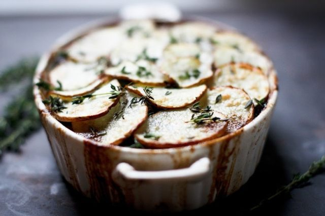 Vegan Shepherds Pie with mushrooms and root vegetables topped with crispy potatoes. Perfect for the holidays!