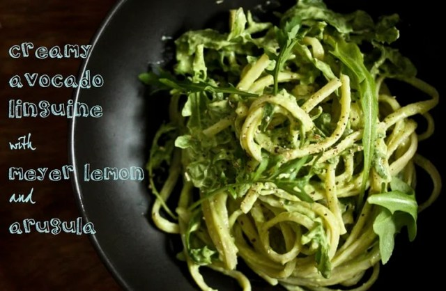 Creamy Avocado Linguini with Meyer Lemon and Arugula ...a fast healthy vegan lunch! | www.feastingathome.com
