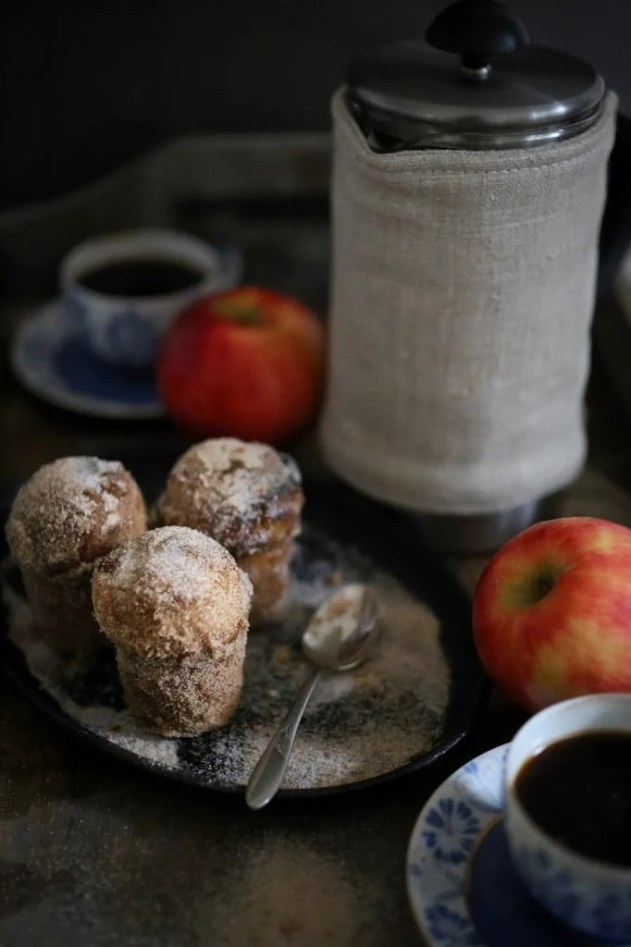 """Apple Brown Butter Bouchons ( also called """" donut muffins """")  --these delicious guys are very easy to make and so delicious. Baked instead of fried they are healthier than donuts.  www.feastingathome.com #apple"""