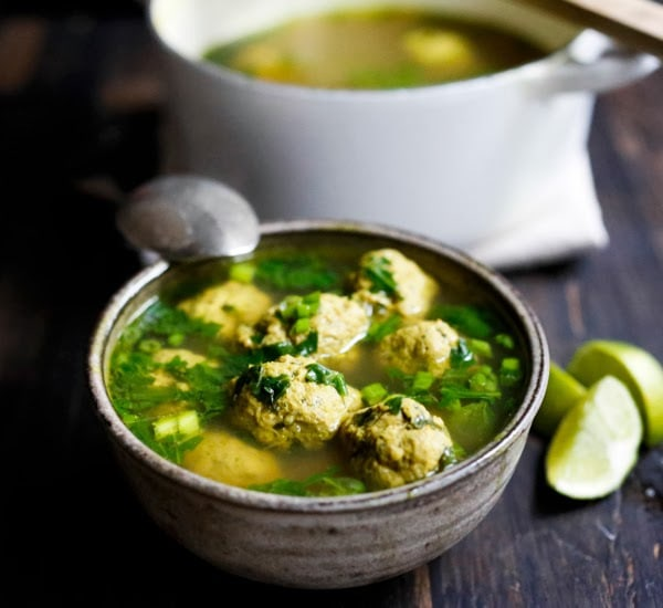 Arabic Meatball Soup with Spinach, Mint and Lime - with the most delicious broth! Make with turkey, lamb, beef or chicken. | www.feastingathome.com