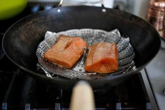 Tea-smoked Five Spice Salmon, sounds complicated but couldn't be more simple. All you need is a wok! Easy step by step recipe for an elegant meal.
