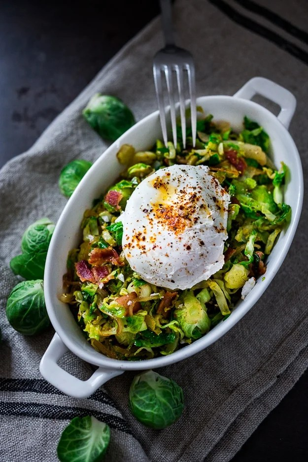 Brussel Sprout Hash with Soft Poached Egg and Aleppo Chili Pepper