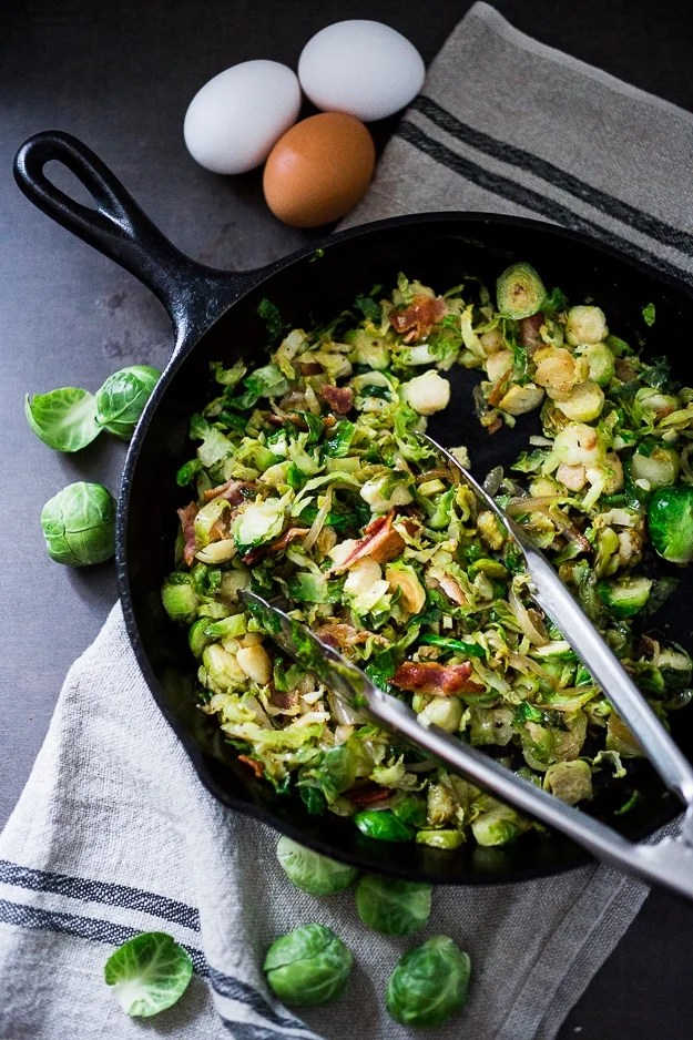 Brussel Sprout Hash with Soft Poached Egg and Aleppo Chili Pepper   www.feastingathome.com