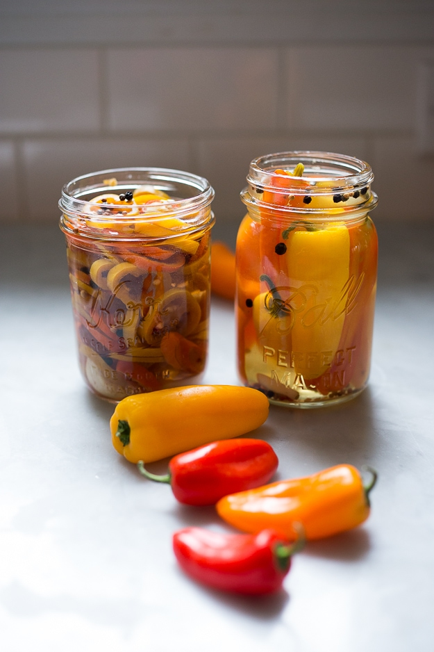 Quick pickled peppers...great on sandwiches! | www.feasitngathome.com