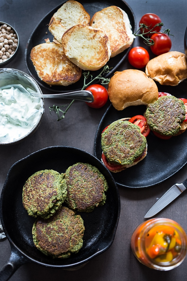 Falafel Burgers with Tzatziki- a vegan gluten free burger that is healthy and filling! | www.feasitngathome.com