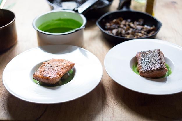 Pan-Seared Trout w/ Mushrooms, New Potatoes & Truffled Spring Pea Sauce | www.feastingathome.com  #stealhead #springrecipes #salmon #peas #trout