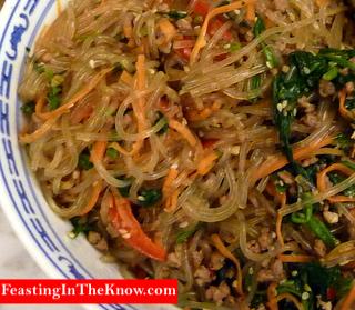 Korean Japchae noodles.