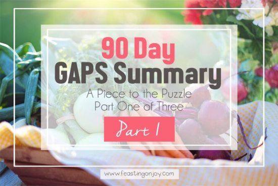 90 Day GAPS Summary {A Piece to the Puzzle Part One of Three} 1 | Feasting On Joy