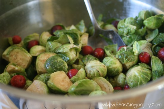 Tossed Brussel Sprouts with Cranberries