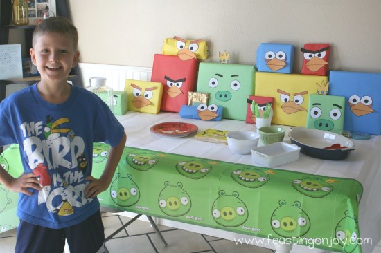 At the table with Angry Birds Birthday Presents
