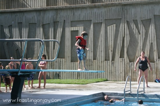 Jumping off Diving Board