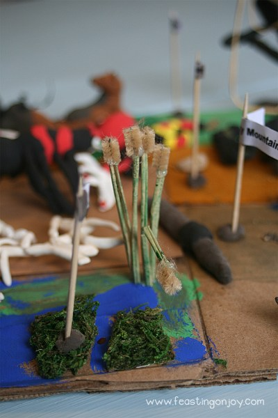 Raffia and Pipe Cleaners for Apologia Zoo Cat tails