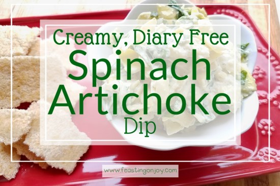 Creamy, Diary Free Spinach Artichoke Dip 2 | Feasting On Joy