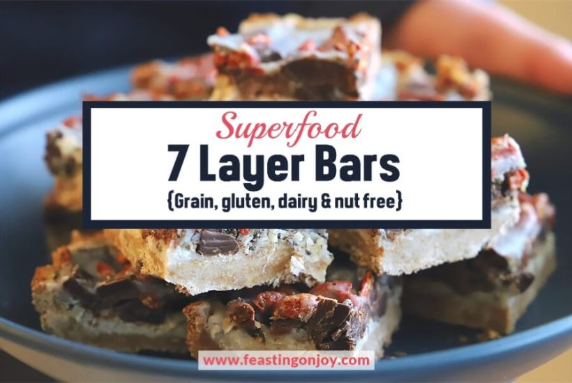 Superfood 7 Layer Bars {Grain, Gluten, Dairy & Nut Free} | Feasting On Joy