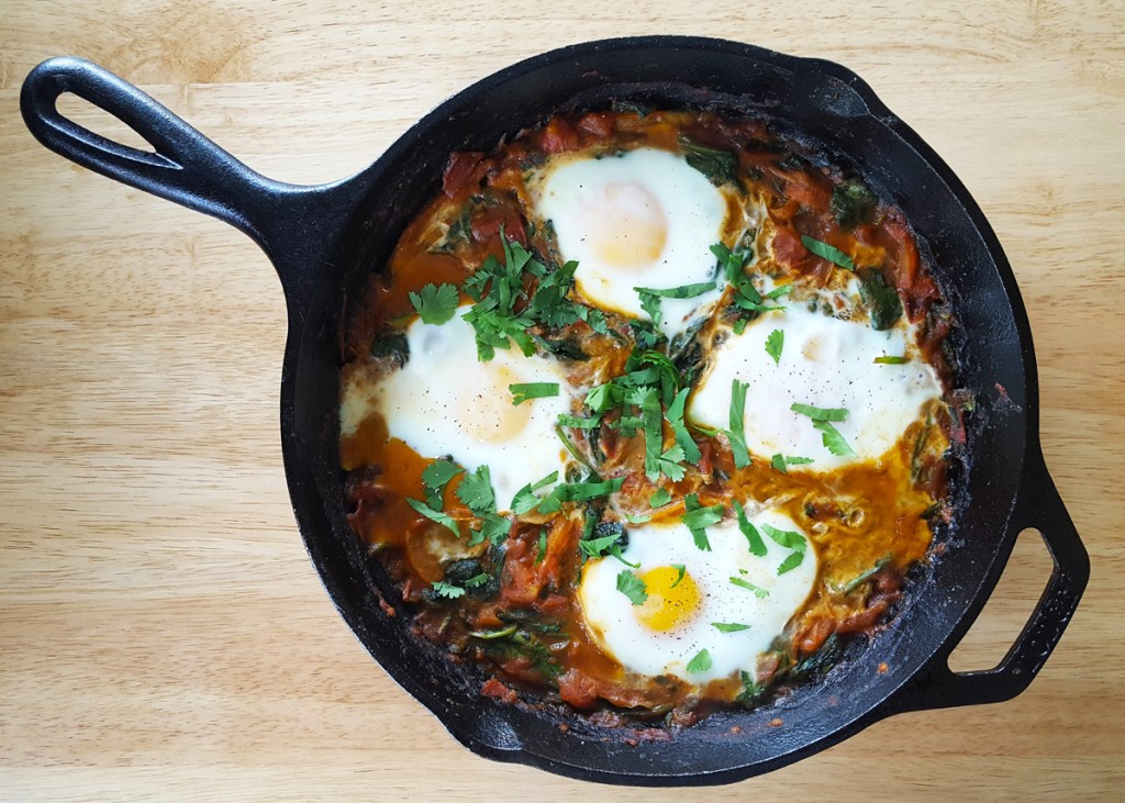 South Asian Spiced Shakshuka with Bell Pepper and Spinach | Feast In Thyme