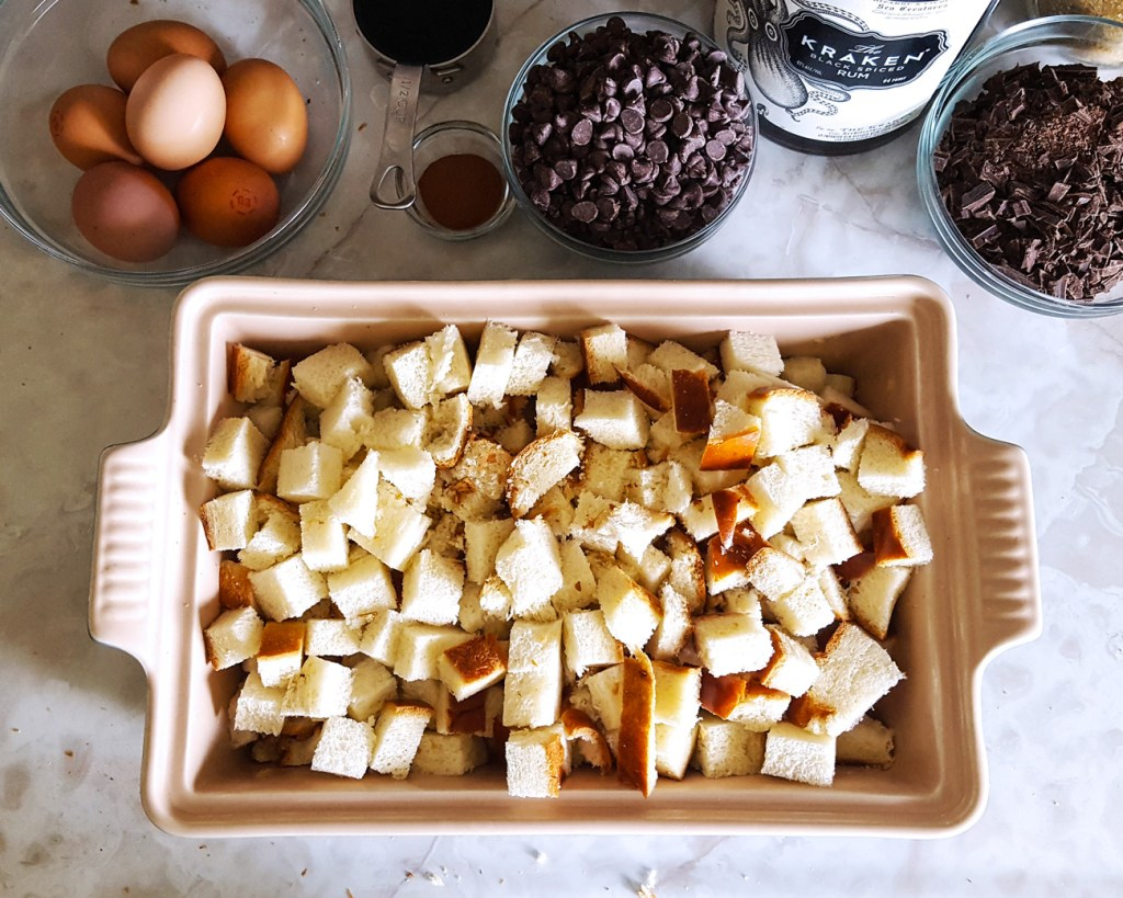 Mocha Rum Bread Pudding with Spiked Coconut Whipped Cream | Caribbean Fete | Feast In Thyme