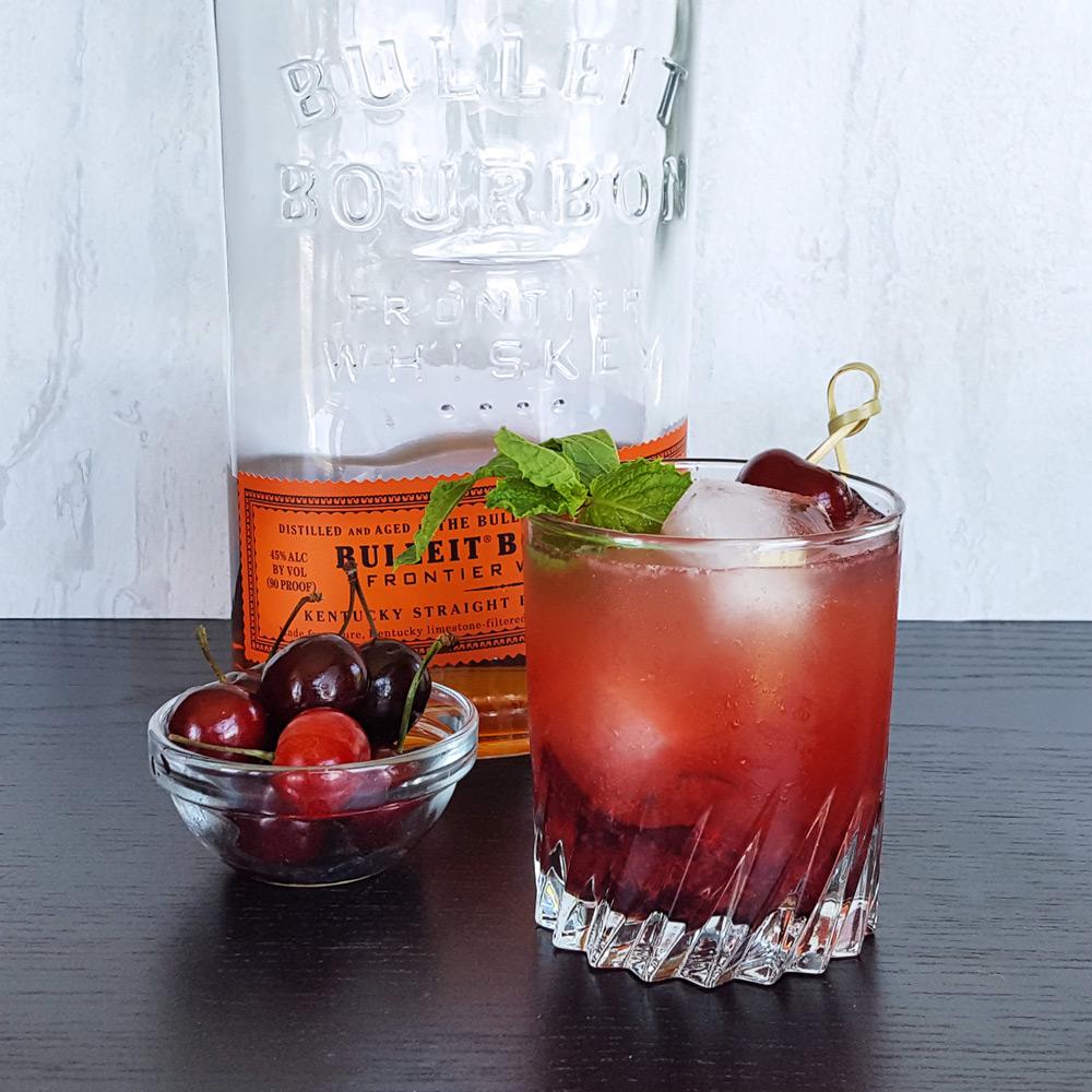 Sweet Cherry Bourbon Smash   FeastInThyme.com