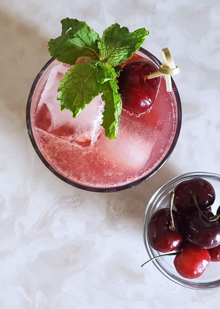 Sweet Cherry Bourbon Smash | FeastInThyme.com