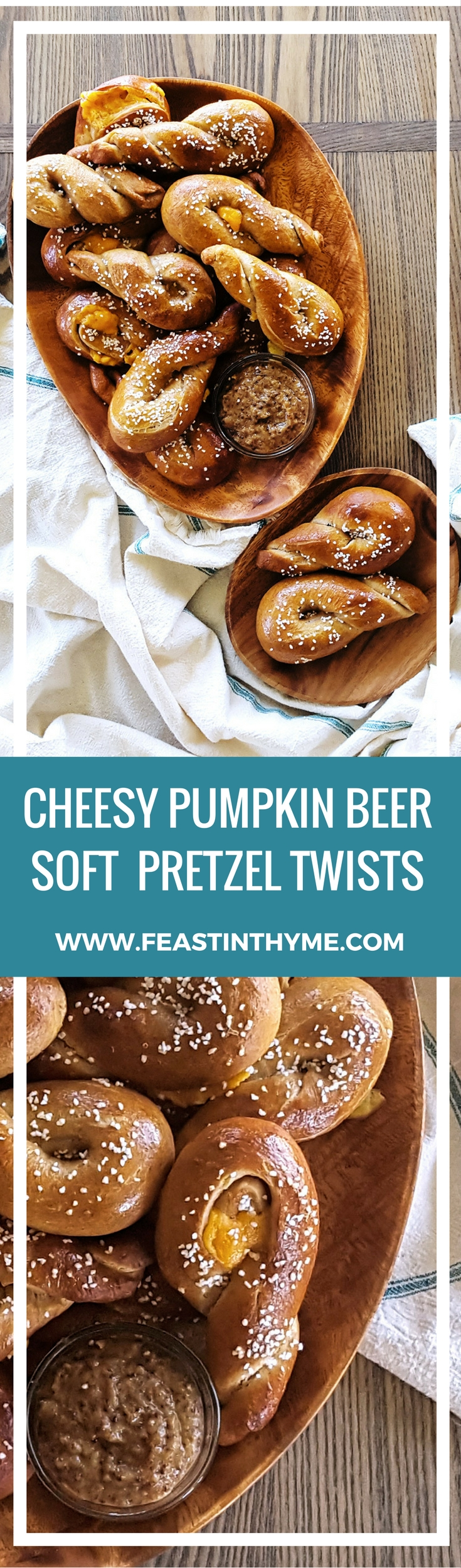 Stuffed with extra sharp cheddar, these Cheesy Pumpkin Beer Soft Pretzel Twists are meant to be shared at your next party or game day!   FeastInThyme.com
