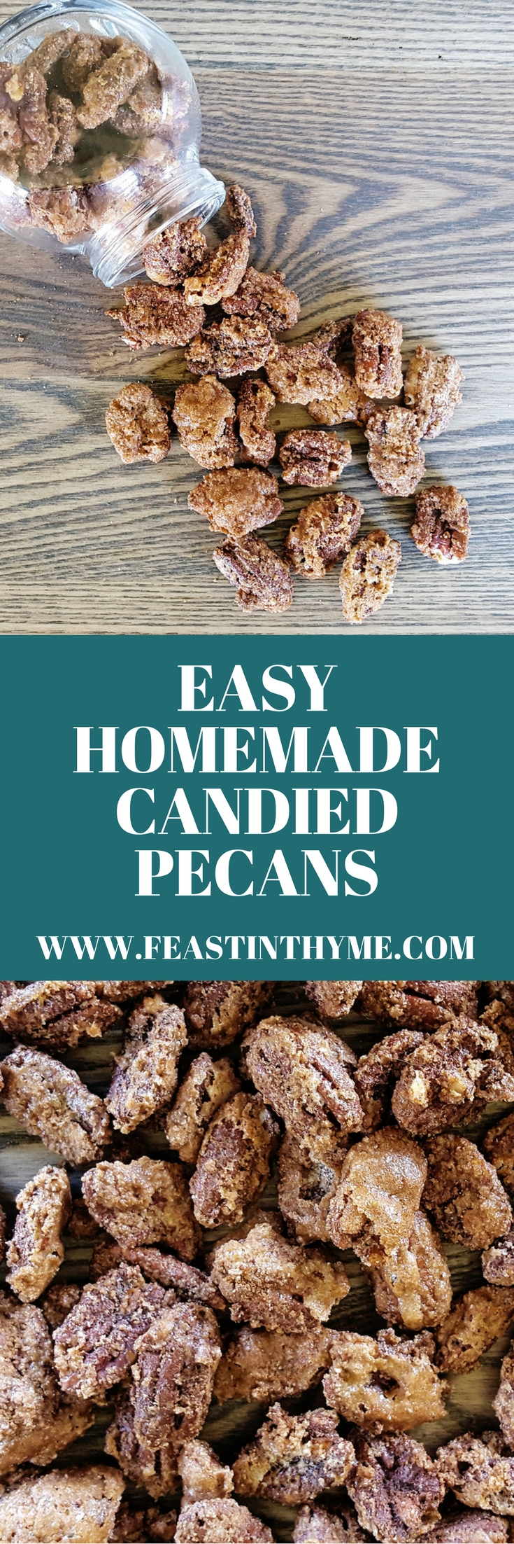Homemade Candied Pecans are a quick & easy sweet treat full of warm cinnamon & spice – a perfect snack or DIY holiday gift! | FeastInThyme.com