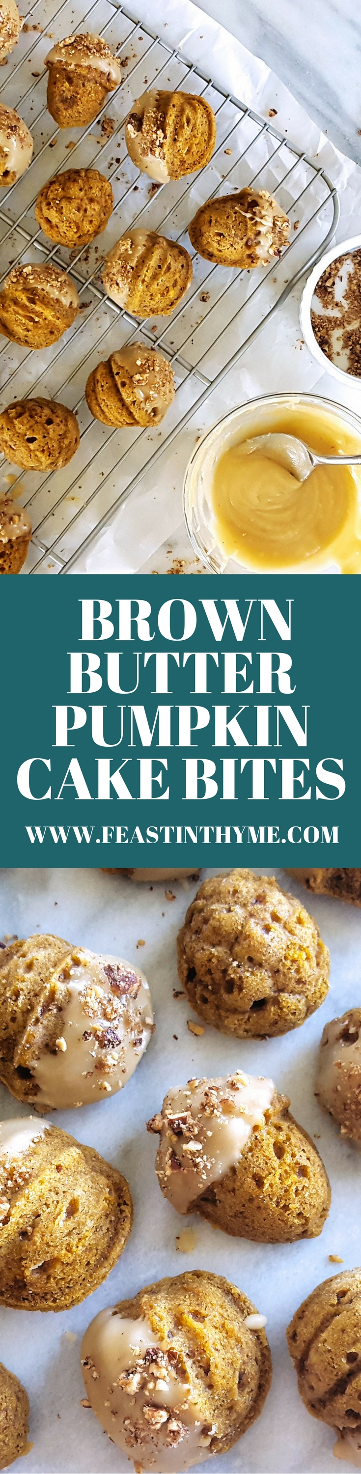 With warm spices, rich maple glaze, & crushed candied pecans, these Brown Butter Pumpkin Cake Bites are a delicious way to impress your guests this fall. | FeastInThyme.com