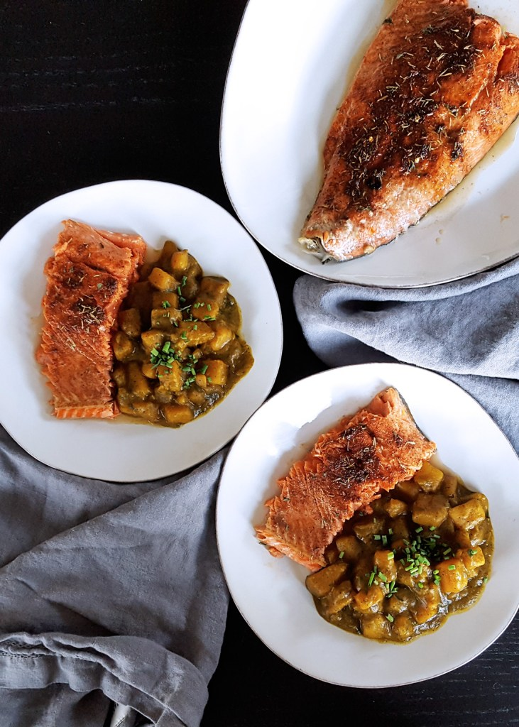 Baked Salmon with Low FODMAP Jerk Seasoning Spice Blend & Brown Sugar on a platter for an easy #weeknight #dinner. #lowfodmap #fodmap #spice #recipe | FeastInThyme.com