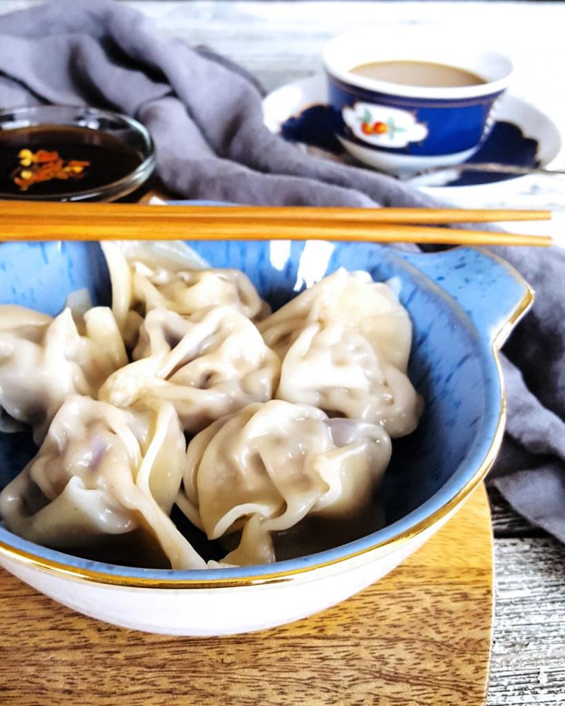 A close-up of the Simple Pork & Mushroom Dumplings